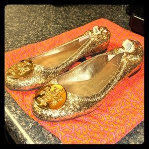 Tory Burch gold glitter Reva flats